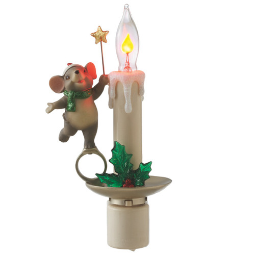 Mouse with Flickering Candle Night Light