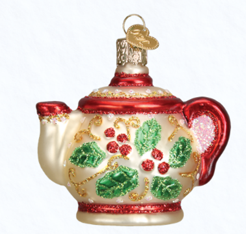 Old World Glass - Holly Teapot Ornament