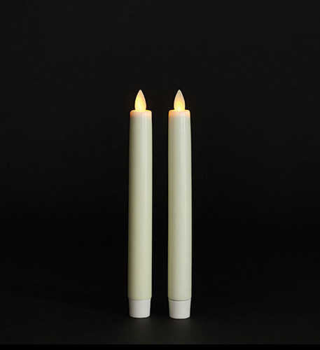 Remote Control Torchier 8 Inch Ivory Moving Flame Taper Candle Set - 2
