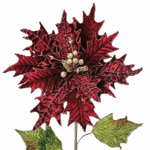 BURGUNDY VELVET POINSETTIA, GLITTER, DECORATIVE STEM PICK