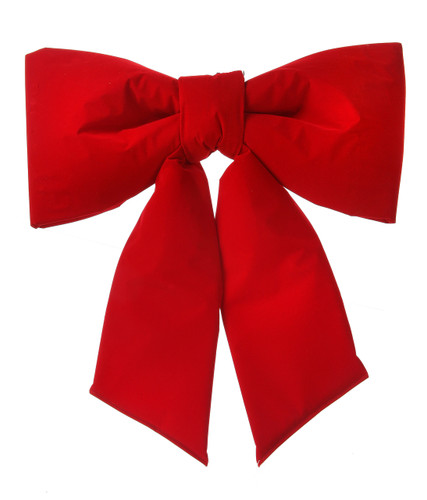 "24"" Red Wired Outdoor Padded Velvet Bow UV-Resistant"