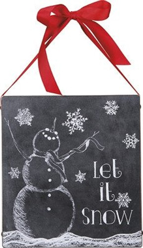 "12"" Box Sign Primitives by Kathy Christmas Let it Snow Snowman"