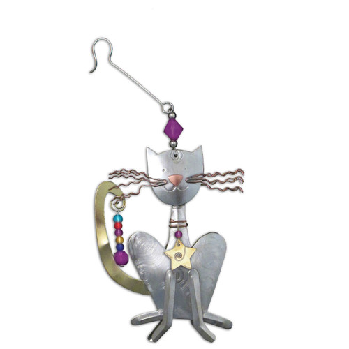 Pilgrim Imports - Handcrafted, Fair Trade,  Metal Sly Cat Ornament