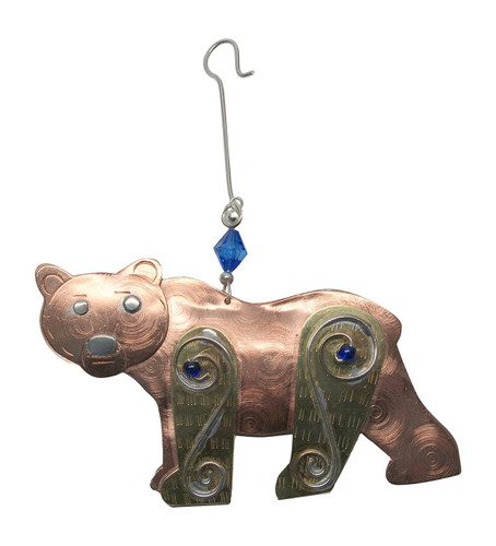Pilgrim Imports - Handcrafted, Fair Trade,  Metal Grandpa Grizzly Ornament