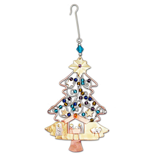 Pilgrim Imports - Handcrafted, Fair Trade,  Metal Nativity Tree Ornament