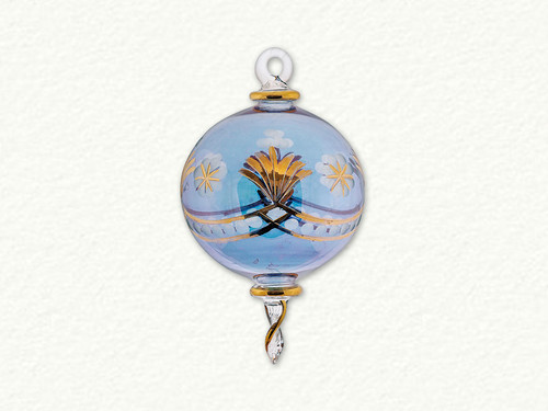 Frosted Egyptian Glass Ornament Etched in Gold Design