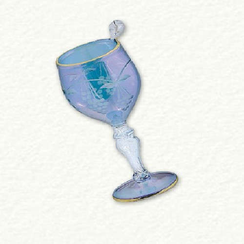 Egyptian Glass Blue Wine Glass Ornament