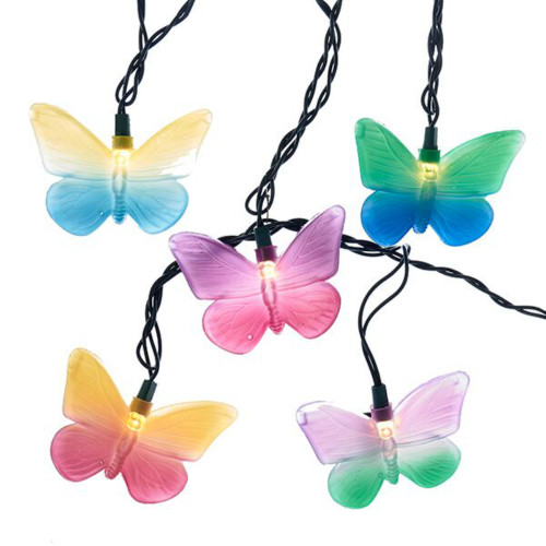 10 Lit Multi-Colored Butterfly Novelty Light Set