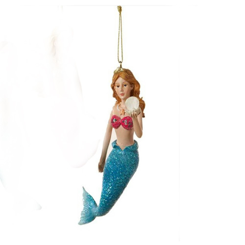Bright Blue Mermaid Ornament