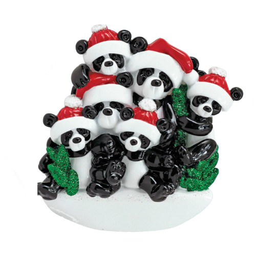 *New for 2017* Free Personalization - Bamboo Panda Family of 6 Ornament