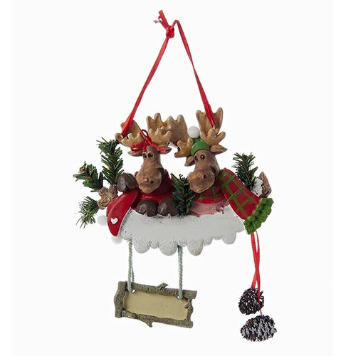 Free Personalization - Moose Couple Ornament
