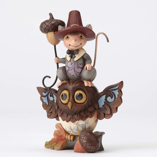 Jim Shore Heartwood Creek- Pint Stack Owl and Pilgrim Mouse