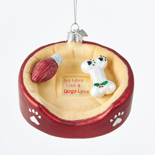 Glass Dog Bed Ornament