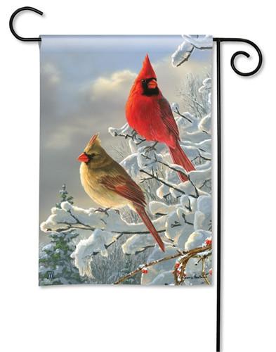 Winter Cardinals Garden Flag