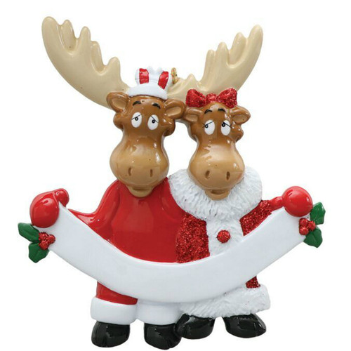 Free Personalization - Moose Couple with Banner Ornament
