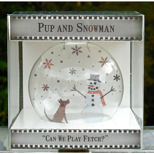 Pup and Snowman on Celluloid Print Ornament - Handmade by Artist Glāk Love