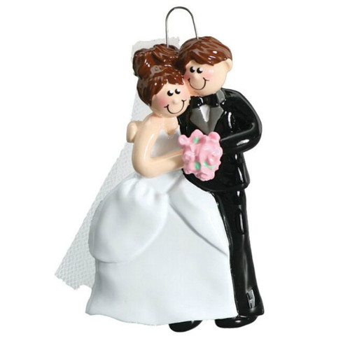 Free Personalization - Cozy Wedding Couple Brunette Ornament