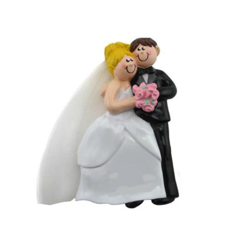 Free Personalization - Cozy Wedding Couple Blonde Ornament