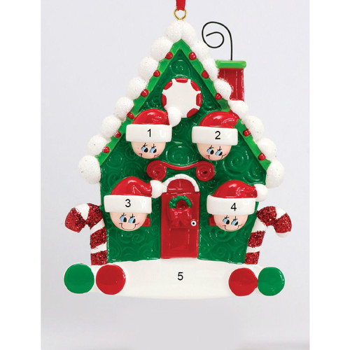 *New for 2017* Free Personalization - Candy Cane House of 4 Ornament