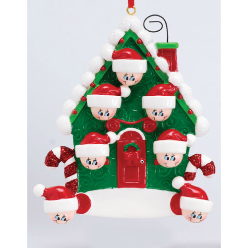 *New for 2017* Free Personalization - Candy Cane House of 7 Ornament