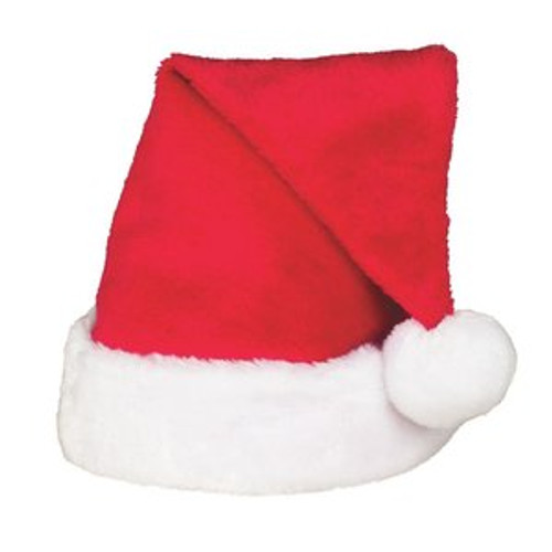 Red Plush Velvet Santa Hat with white Cuff and Pom