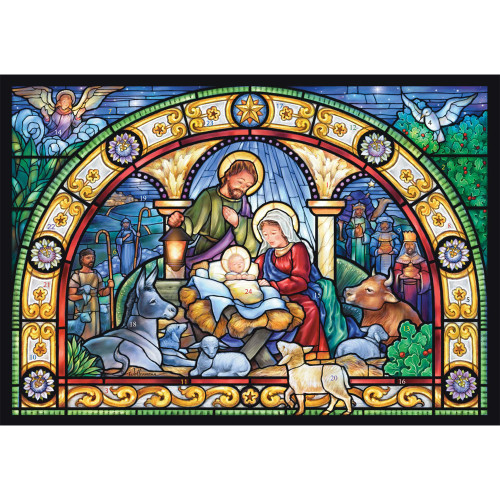 Stain Glass Holy Night Paper Advent Calendar