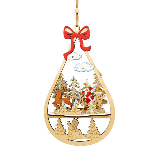 Wood Santa in Sleigh Ornament