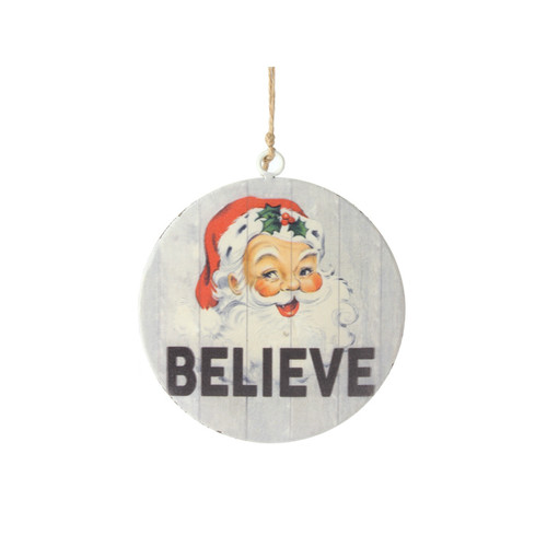 Santa Disk Believe Ornament