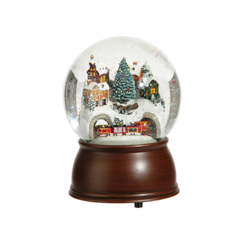 Musical House with Train Snow Globe