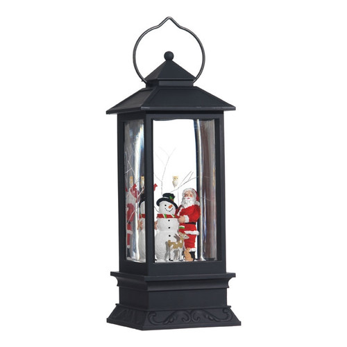 Lighted Snowman and Santa Lantern Water Globe