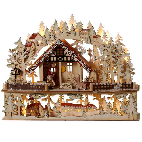 Lighted Wooden Santa's Workshop