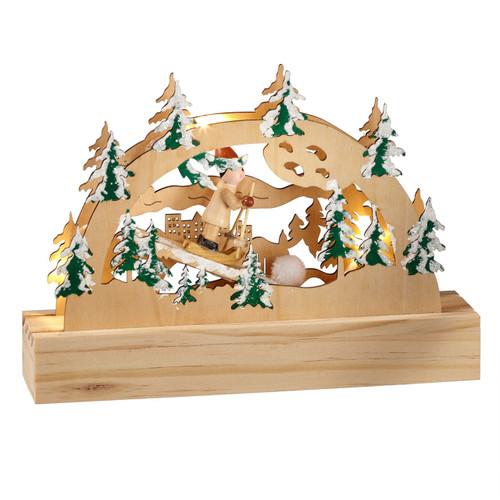 Lighted Wooden Ski Scene