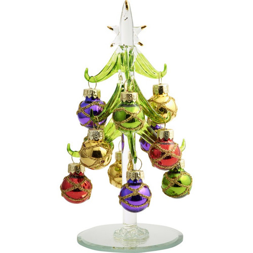 "6"" Glass Green Tree with Multi Colored Ball Ornaments"