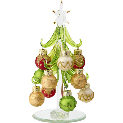 "6"" Glass Green Tree with Multi Colored Gold Ornaments"