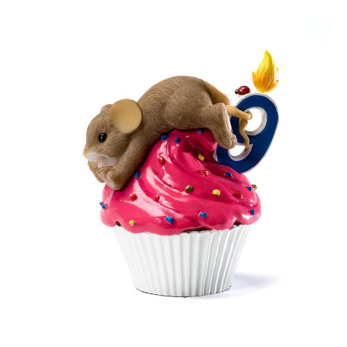 Charming Tales Mouse on Cupcake ninth Birthday Figurine