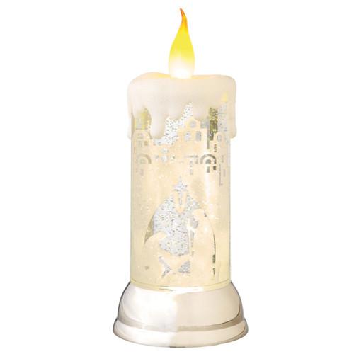 "10.5"" LED Lighted Nativity Scene Swirling Christmas Snow Globe Glitterdome Candle"
