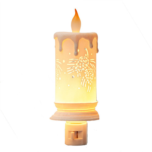 Night Light - Blond Candle with Dotted picture scene