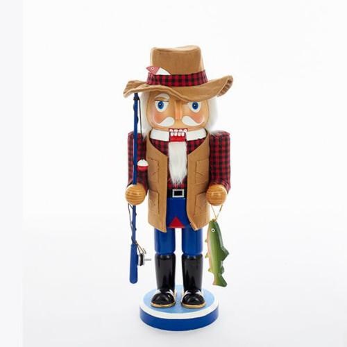 """Kurt Adler - 15"""" Wooden Fisherman Nutcracker"""