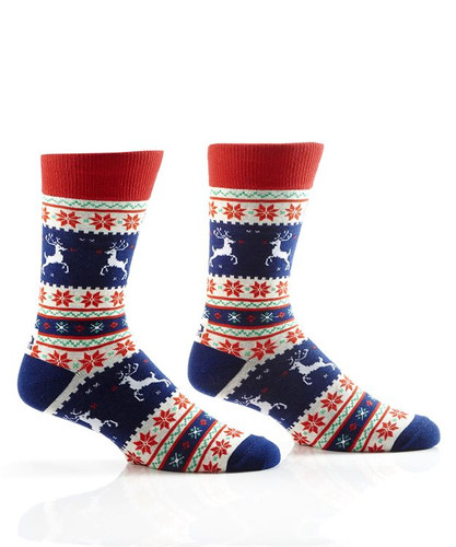 Yo Sox - Men's Crew Sock with White and Blue Nordic Design
