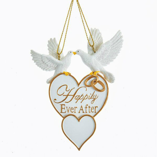 "*Free Personalization - Doves with Heart ""Happily Ever After"" Ornament"
