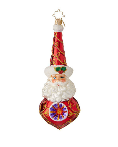 "Christopher Radko Merry and Bright Glass Santa Christmas Ornament - 6.5""h"