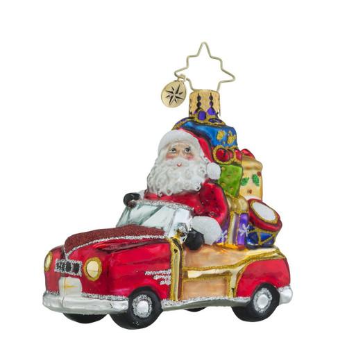 Christopher Radko Vintage Ride Little Gem Santa Christmas Ornament