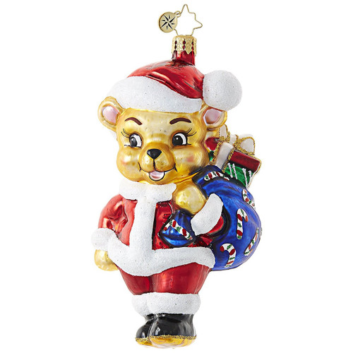 Radko Teddy Bear in Santa Hat Bearing Christmas Joy Glass Ornament