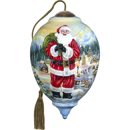 Precious Moments - Hand Painted Blown Glass Santa Claus is Coming to Town Ornament Limited Edition Princess Shaped