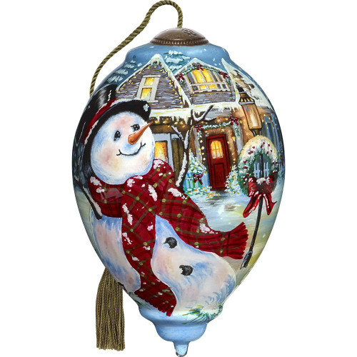 Precious Moments - Ne'Qwa Art - Hand Painted Blown Glass Standard Princess Shaped Ornament of An Old Fashioned Christmas Scene, 5.5-inches