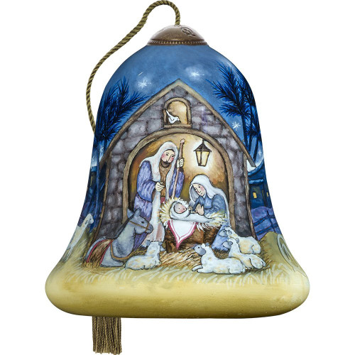 Precious Moments - Ne'Qwa Art -Hand Painted Blown Glass Petite Bell Shaped Away In A Manger Scene Ornament