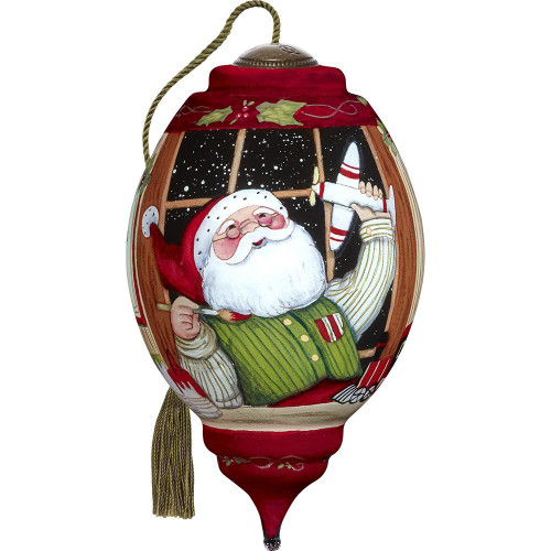 Precious Moments - Ne'Qwa Art - Hand Painted Blown Glass Standard Trillion Shaped Santa's Finishing Touches Ornament