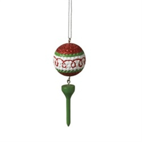 "3.75"" Red Glitter Swirled Golf Ball and Green Tee Dangle Christmas Ornament"