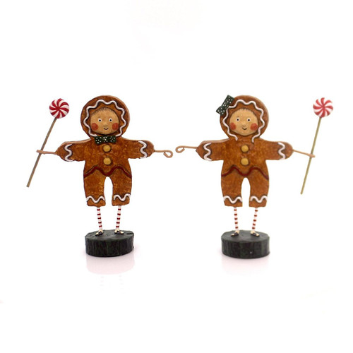 Lori Mitchell GINGERBREAD BOY & GIRL Polyresin Peppermint Candy Christmas