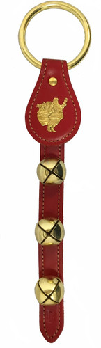 Belsnickel Santa Claus Charm Red Leather Sleigh Bell Door Hanger
